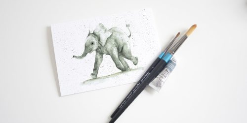 Watercolour Baby Elephanit Card - Thorns & Roseway