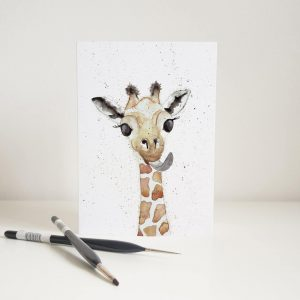 Watercolour Baby Giraffe Card - Thorns & Roseway