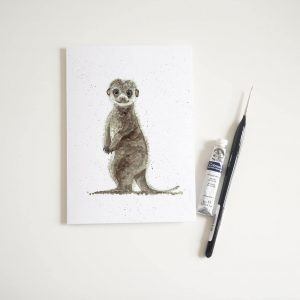 Watercolour Baby Meerkat Card - Thorns & Roseway