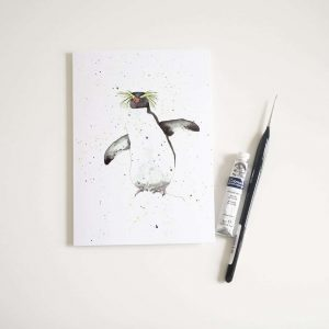 Watercolour Rockhopper Penguin Card - Thorns & Roseway