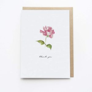 Watercolour Thank You Card Rose - Thorns & Roseway