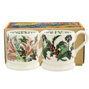 Emma Bridgewater Winter Flowers Set Of Two Half Pint Mugs