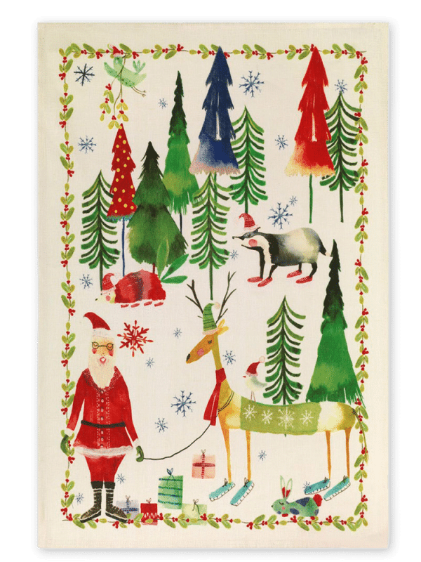 Christmas Trees – Green – Linen Tea Towel – Made in Italy
