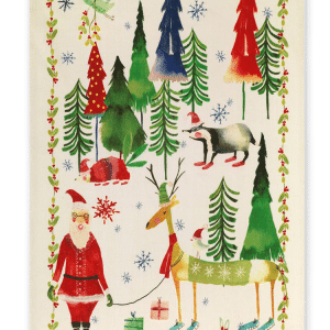 Christmas Trees Green Linen Tea Towel Made in Italy