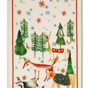 Christmas Trees - Red - Linen Tea Towel - Made in Italy