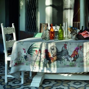 Cockerels Tablecloth - 100% Linen Made in Italy