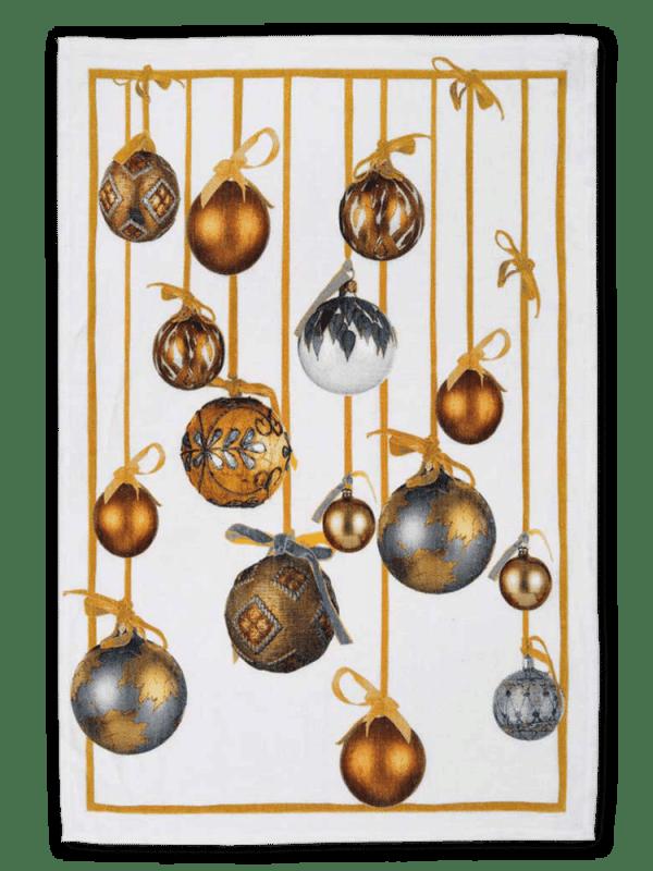 Golden Jingle (Gold) Linen Tea Towel - Made in Italy