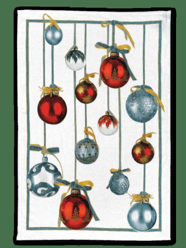 Golden Jingle (Red) Linen Tea Towel - Made in Italy