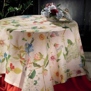 Hibiscus Tablecloth - 100% Linen Made in Italy