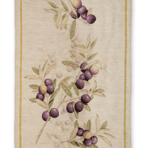 Olives - Burgundy - Linen Tea Towel - Made in Italy