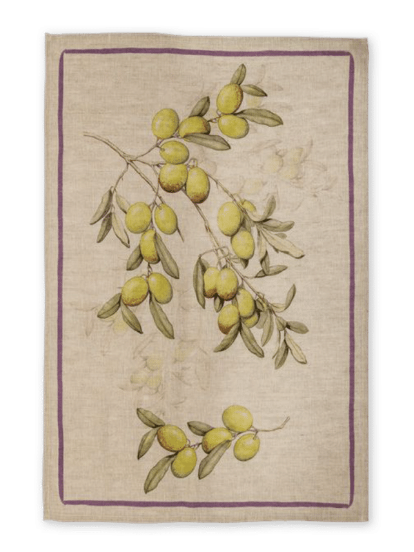 Olives - White - Linen Tea Towel - Made in Italy