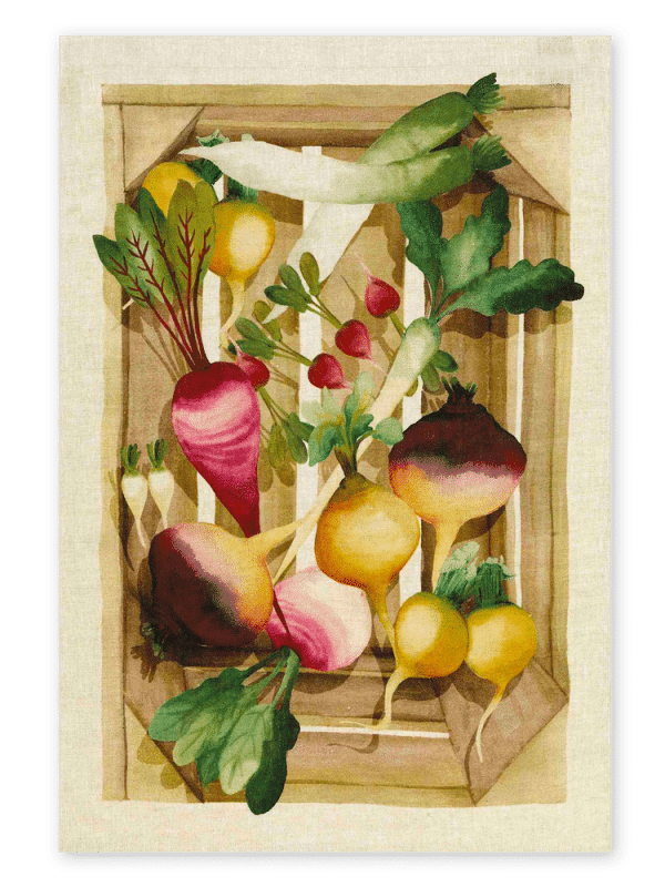 Radishes - Linen Tea Towel - Made in Italy
