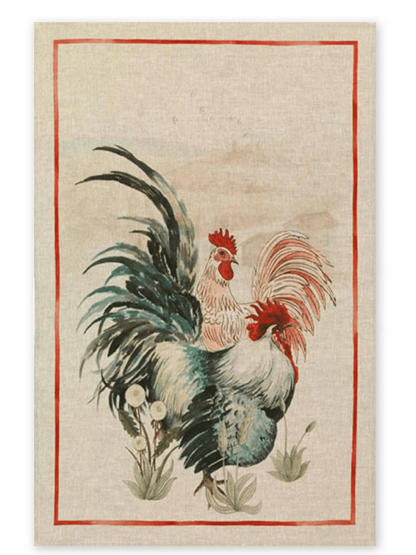 Rooster Red Linen Tea Towel Made in Italy