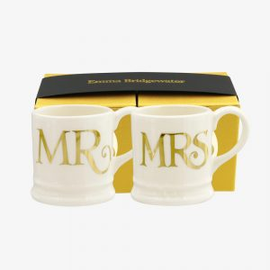 Emma Bridgewater Mr & Mrs Set Of 2 Tiny Mugs (Gold)