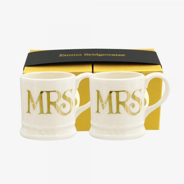 Emma Bridgewater Mrs & Mrs Set Of 2 Tiny Mugs (Gold)