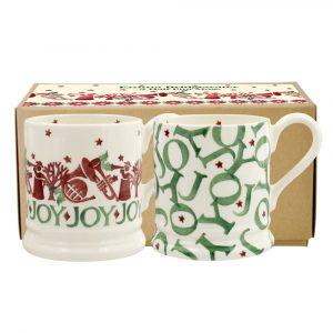 Emma Bridgewater Joy Trumpets Set Of Two Half Pint Mugs