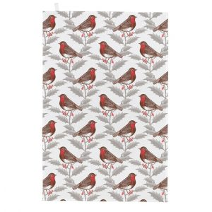 Thornback & Peel - Robin & Holly Tea Towel