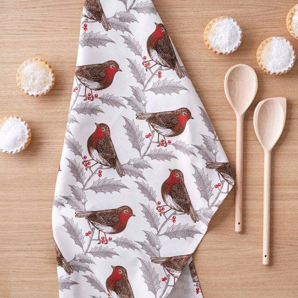 Thornback & Peel - Robin & Holly Tea Towel