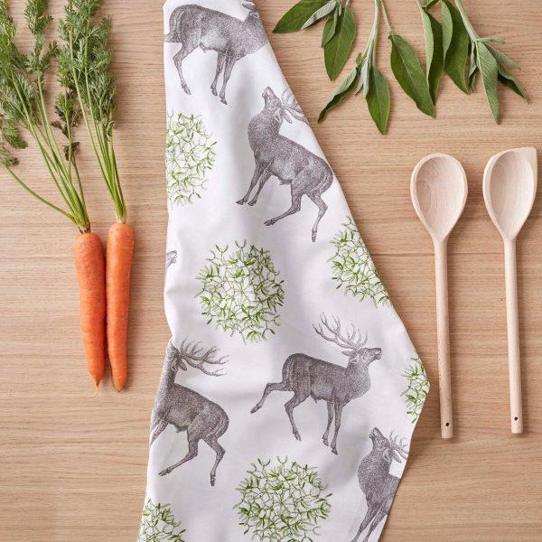 Thornback & Peel - Stag & Mistletoe Tea Towel