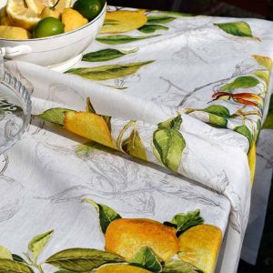 Limoncello Tablecloth - 170 x 170 - 100% Linen Made in Italy