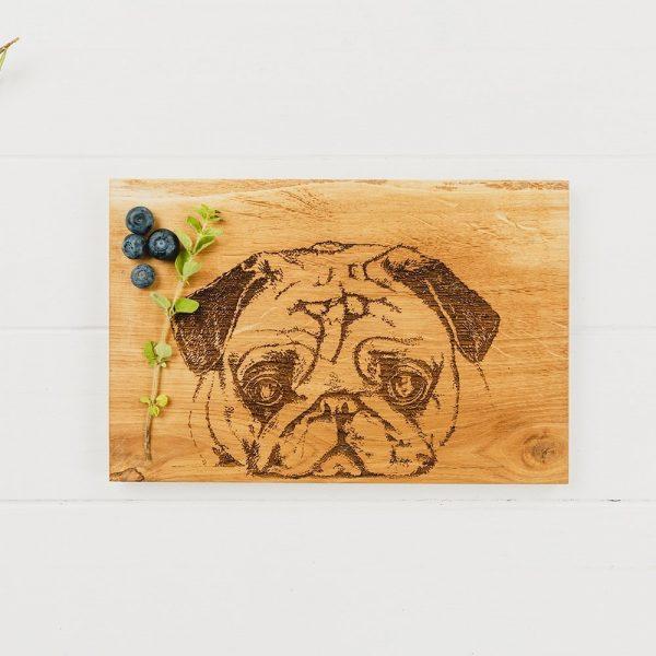 Pug Serving Board - Scottish Oak