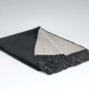 Irish Linen & Lambswool Reversible Throw - Charcoal - McNutt of Donegal