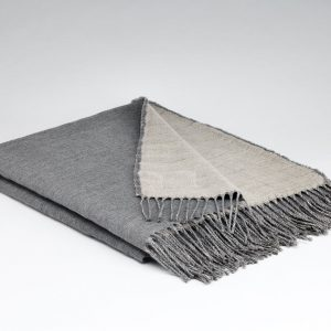 Feather Grey Linen/Lambswool Reversible Throw - McNutt of Donegal