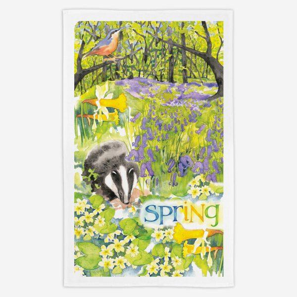 Spring Tea Towel - Water Colours Britain - Stuart Morris