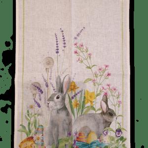 Easter Rabbit - Linen Tea Towel - Made in Italy