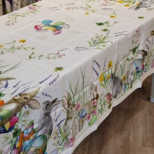 Easter Rabbit Tablecloth 170 x 270 100% Linen Made in Italy