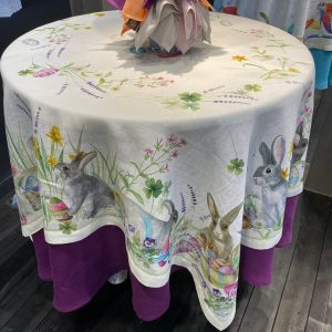 Easter Rabbit Tablecloth - 170 x 170 - 100% Linen Made in Italy