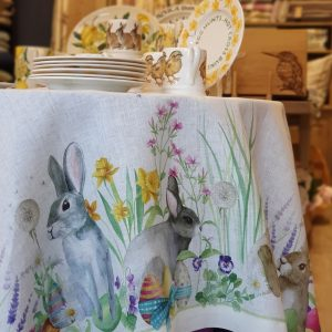 Easter Rabbit Tablecloth – 170 x 170 – 100% Linen Made in Italy