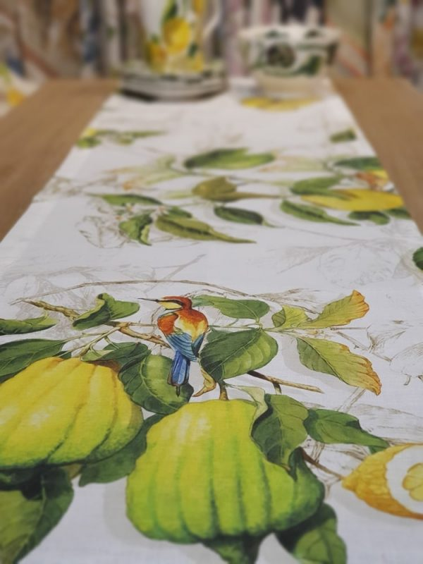 Limoncello vis a vis Table Runner 100% Linen Made in Italy