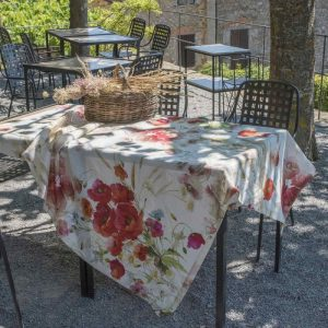Coquelicot (Poppy) Square Tablecloth - 170 x 170 - 100% Linen Made in Italy