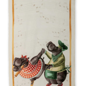 Figaro (Dancing Hippos) - Linen Tea Towel - Made in Italy