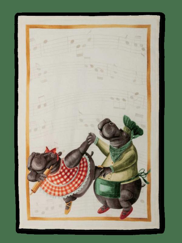 Figaro (Dancing Hippos) - Linen Tea Towel - Made in Italy