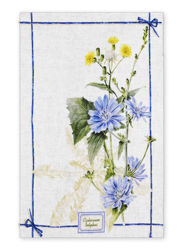 Fragrance Cicoria - Linen Tea Towel - Made in Italy