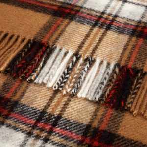 Pure Wool Knee Rug Camel Stewart Tartan Bronte by Moon