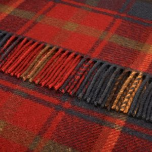 Pure Wool Knee Rug Dark Maple Tartan Bronte by Moon