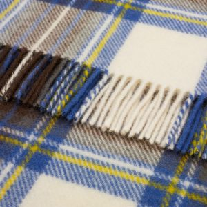 Pure Wool Knee Rug Muted Blue Stewart Tartan Bronte by Moon