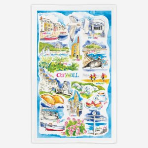 Cornwall Tea Towel - Water Colours Britain - Stuart Morris