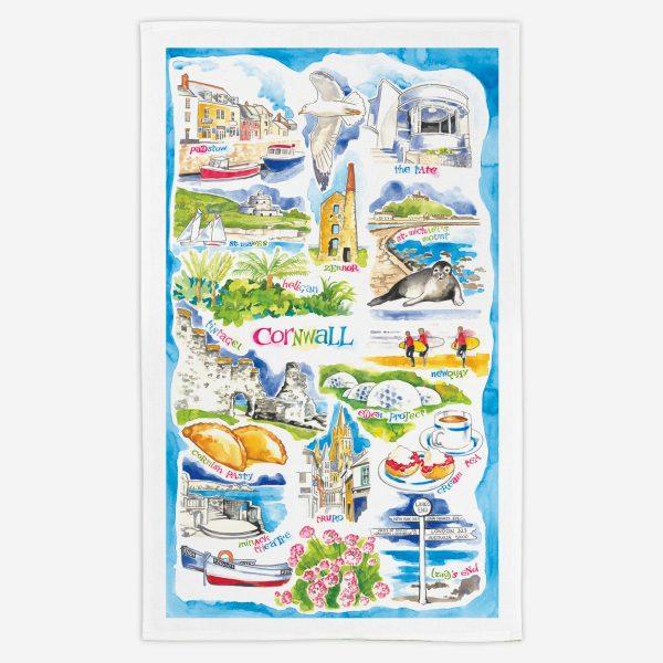 Cornwall Tea Towel - Water Colours Britain - Stuart Morris