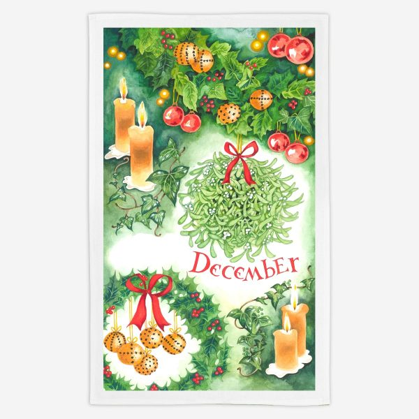 December (Christmas!) Tea Towel - Water Colours Britain - Stuart Morris