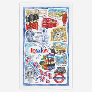 ondon Tea Towel - Water Colours Britain - Stuart Morris
