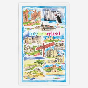 Northumberland Tea Towel - Water Colours Britain - Stuart Morris