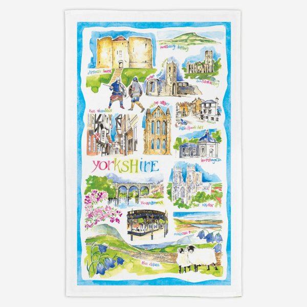 Yorkshire Tea Towel - Water Colours Britain - Stuart Morris