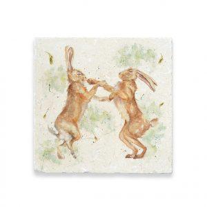 Boxing Hares Large Platter - Kensington Collection by Kate of Kensington