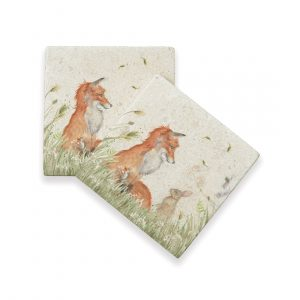 Fox & Rabbit Coasters (pair) - Country Companions by Kate of Kensington