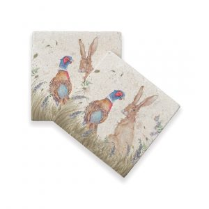 Pheasant & Hare Coasters (pair) - Country Collection by Kate of Kensington
