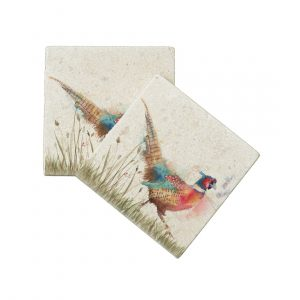 Pheasant in Grass Coasters (pair) - Country Companions by Kate of Kensington